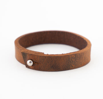Leather bracelet - brown - large