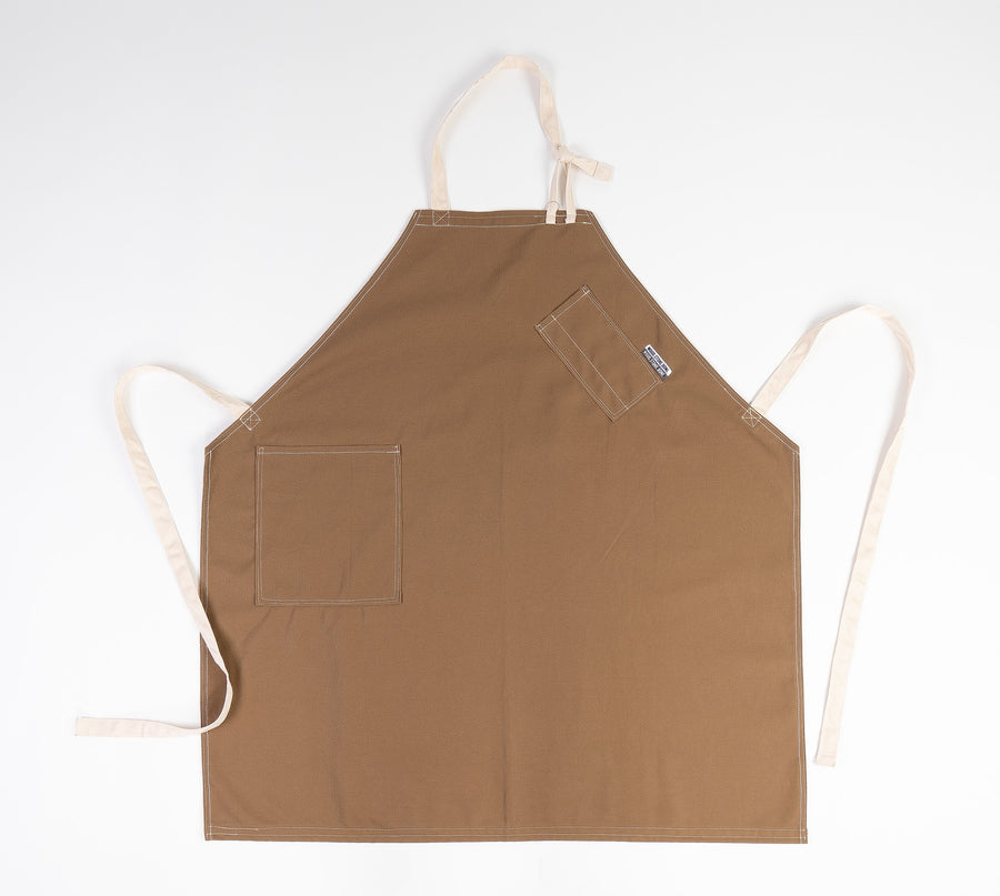 Apron Miso Cotton Canvas with hip pocket and leather straps - made in Portland Maine