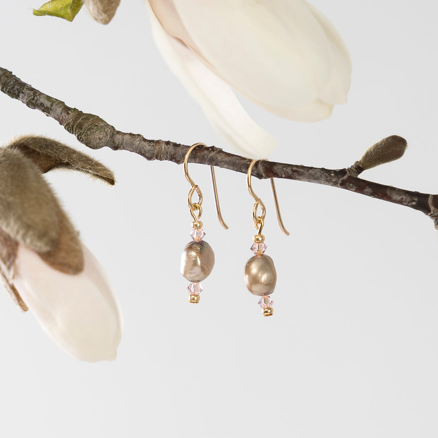freshwater pearl and crystal earrings - rose quartz - mother's day gift guide - tree branch lifestyle