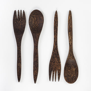 coconut palm wood salad serving set - fork and spoon - serving utensils - handmade in Sri Lanka