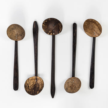 coconut palm soup ladle - wood and coconut shell design - handmade in sri lanka - kitchen utensils
