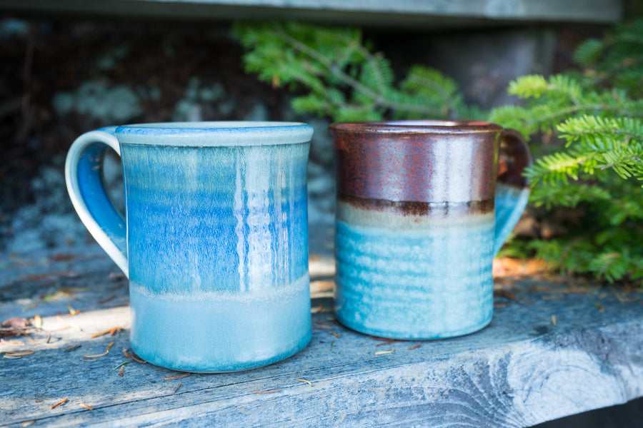 Stoneware coffee mugs. Handmade in Maine - pottery - handmade - collection shot