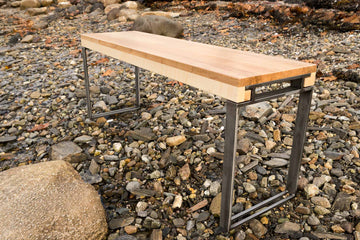 The Holden Collection - Curly Maple Wood and Steel Bench