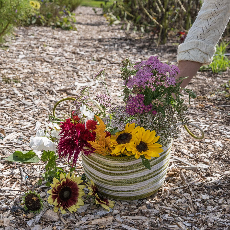 pick flowers with our handmade cotton rope harvest basket