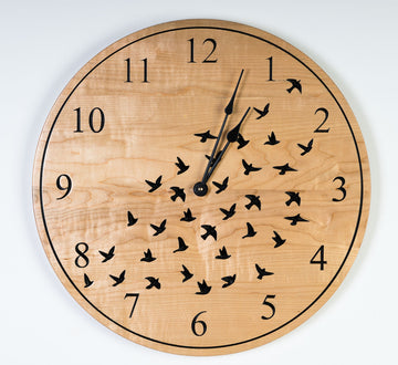 Black Birds Clock - Maple