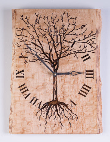 Tree of Life Carved on Live Edge Birds Eye Maple