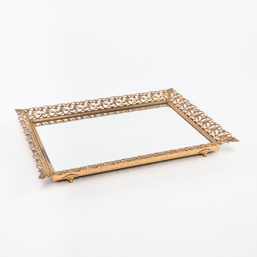 vintage mirrored tray - ornate design - found object - gold painted plastic
