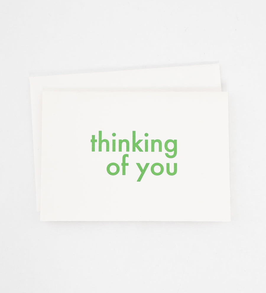 Thinking of you green lettering