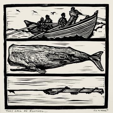 The Call me Ishmael relief print by local Maine Artist - David Connor - linocut artist - block print