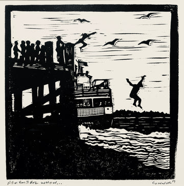 Remember when by David Connor - peaks island ferry - summertime on the island - jumping off the dock