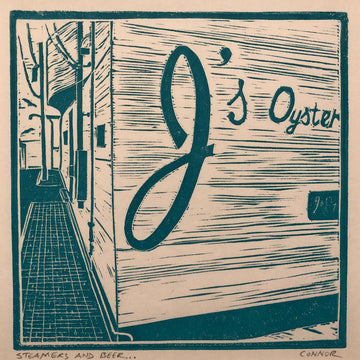 Steamers' and Beer by David Connor - relief printmaking - one color linoleum - square block print - J's Oysters