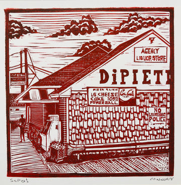 sopo by David Connor - South Portland - Dock - harbor - fishing - relief linocut - one color print - red