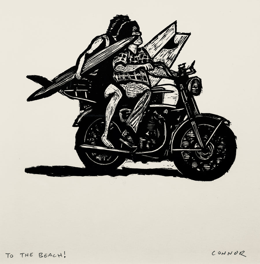 To The Beach! linocut print in black - relief printmaking - motorcycle - surfing - beach day on the ocean
