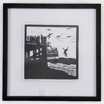 Remember when - linocut print - David Connor - Peaks island dock - Casco Bay Ferries - printmaking