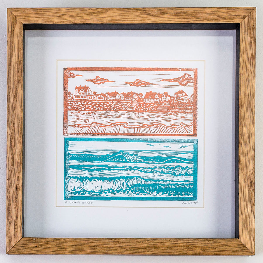 linocut print of Higgins Beach Maine - carving - handmade wood frame - local artist - printmaking