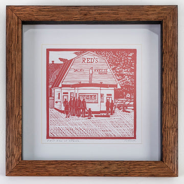 linocut print in a handmade wood frame by David Connor - Reds - South portland - ice cream shop - relief printmaking