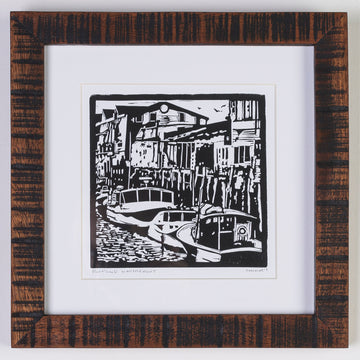 framed linocut print in a handmade wood frame - portland waterfront - Maine - fishing - lobster - local artist - printmaking