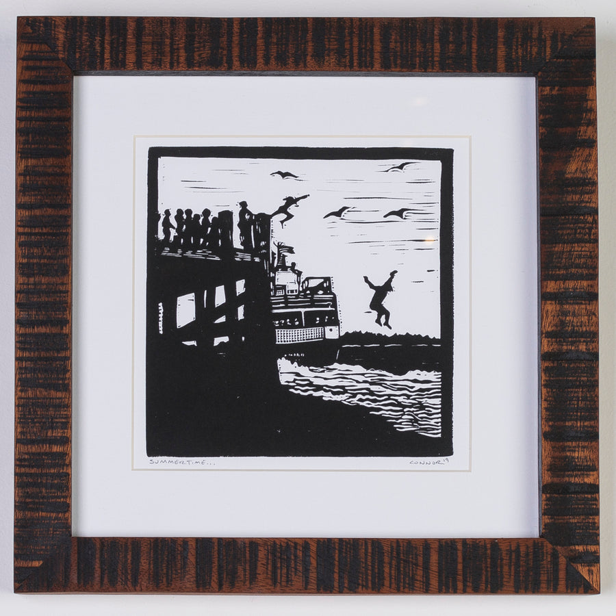 Maine linocut print - relief printmaking - peaks island ferry - jumping off the dock - summer in Maine