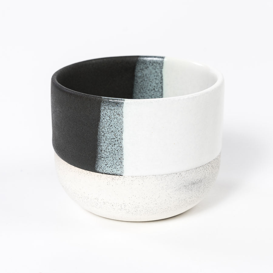 Black + White Cup | Blue Bubble Accent