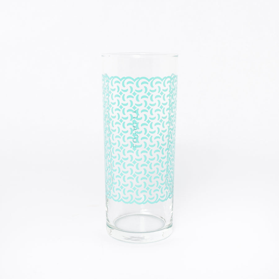 loyalty glass in aqua - Ghanaian symbols - kitchen