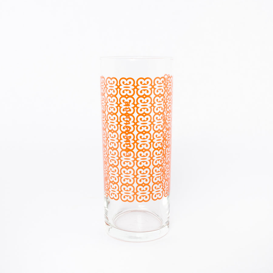 endurance glass in orange - Ghanaian symbols - kitchen glassware