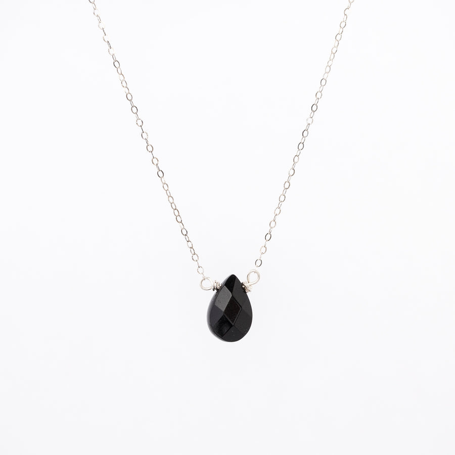 black stone teardrop necklace - silver plated chain - small pendant - women's jewelry