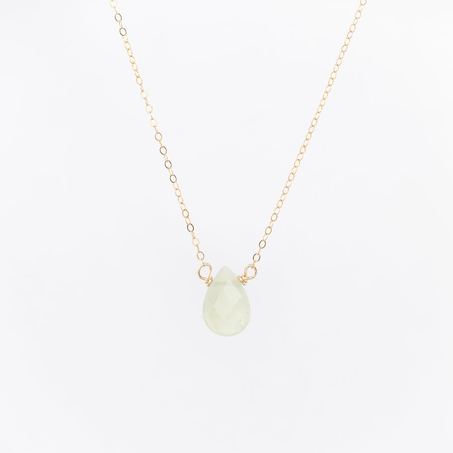 seafoam green teardrop necklace - gold plated chain - delicate jewelry - handmade in Portland, Maine