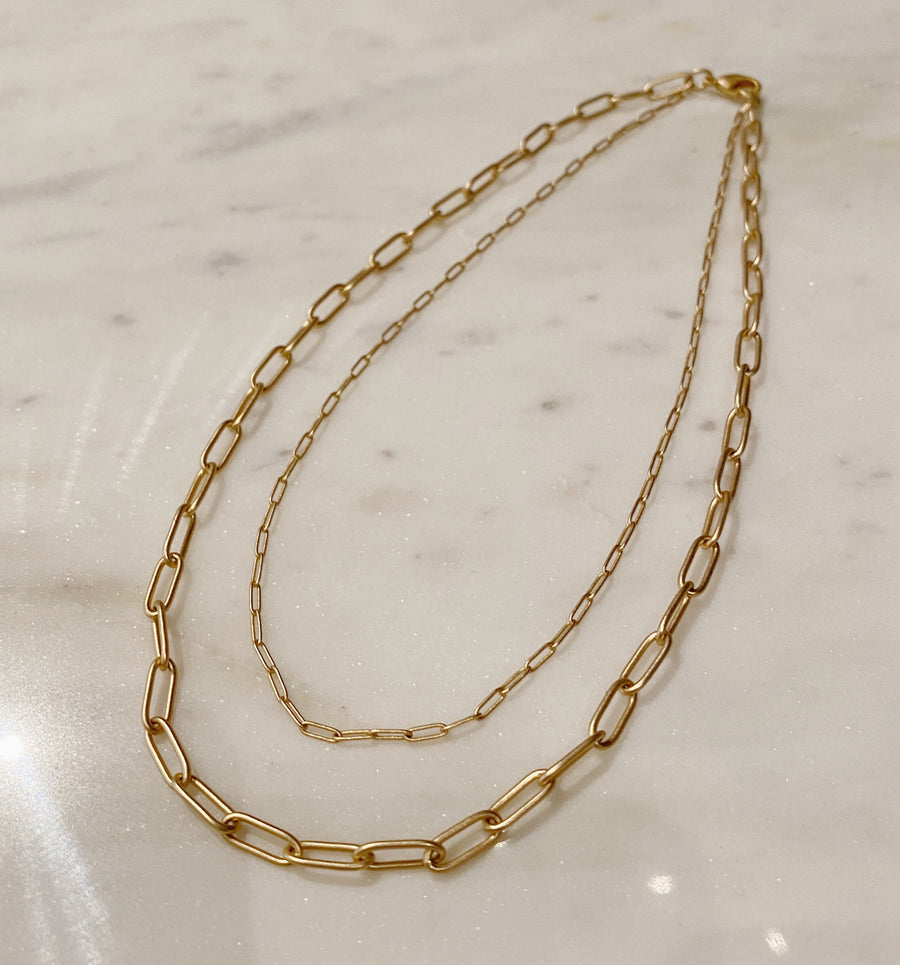 Small Layered Paperclip Chain Necklace