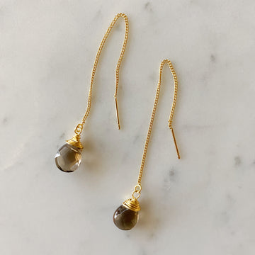 Stone Threader Earrings - Smokey Quartz