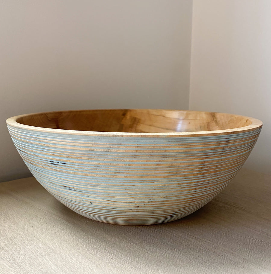Blue Ribbed Sugar Maple Bowl