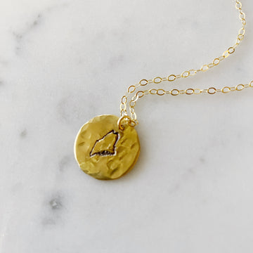 Brass Maine Pendant - gold chain