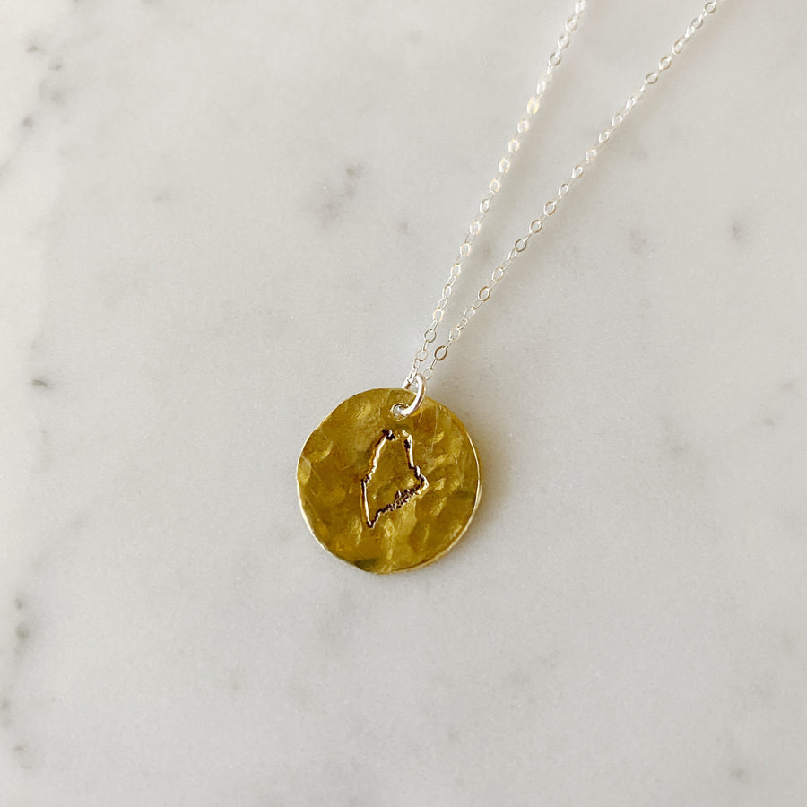 Brass Maine Pendant - Sterling silver chain