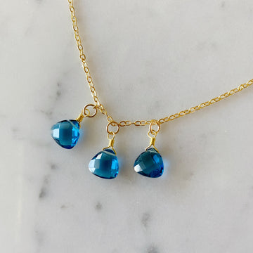 Blue Topaz Quartz Brios Necklace with Gold Plated Chain