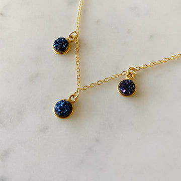 Small Navy Druzy Necklace with Gold Plated Chain