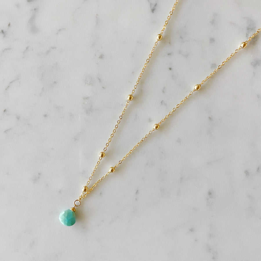 Aqua Chalcedony Brios Necklace