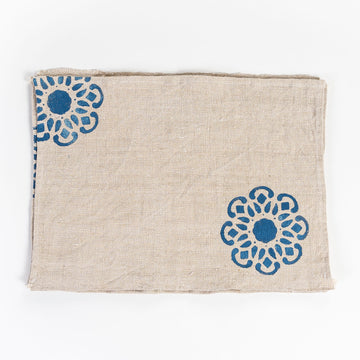 cafe linen placemats - screen printed - hand sewn and repurposed - french Vintage linen
