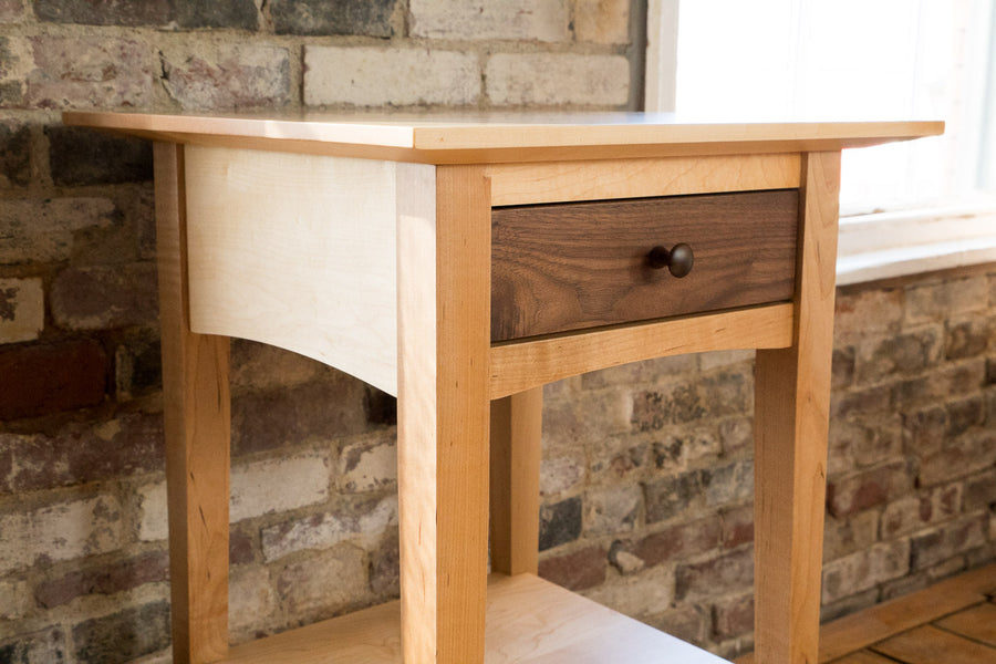 handmade side table - maple frame with walnut drawer - natural wood - tables