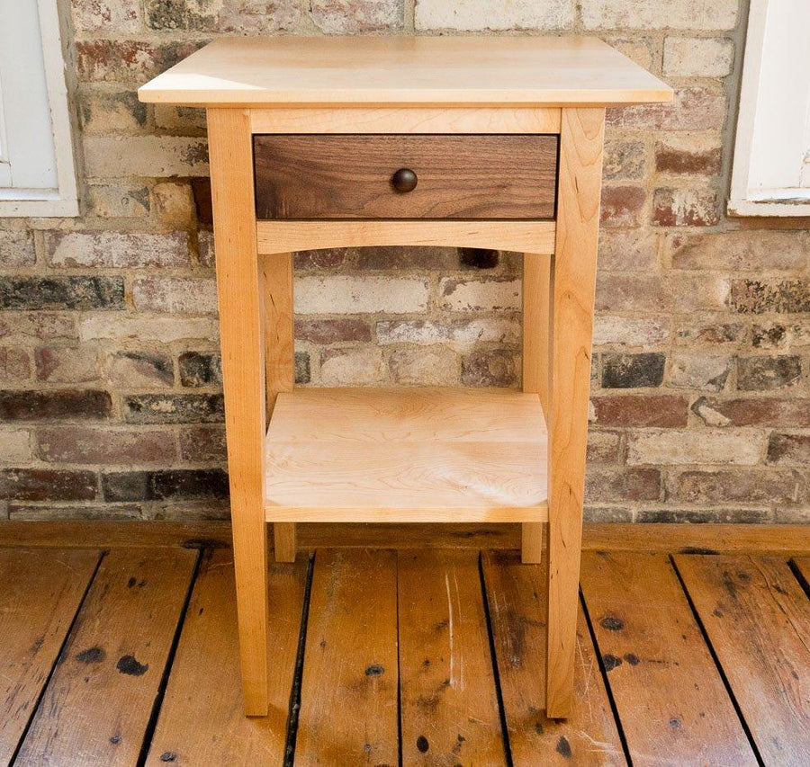 peaks point side table in maple and walnut lifestyle image - handmade in portland, ME -