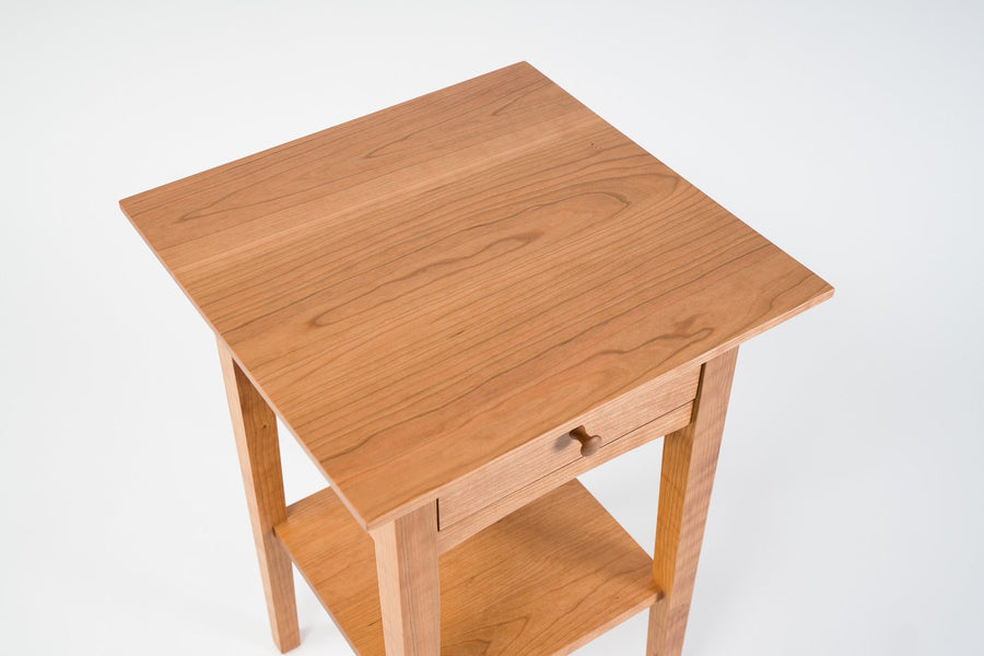 peaks point side table in cherry - top view - furniture - natural wood - drawer - handcrafted and designed by wood.stone.bone in portland maine