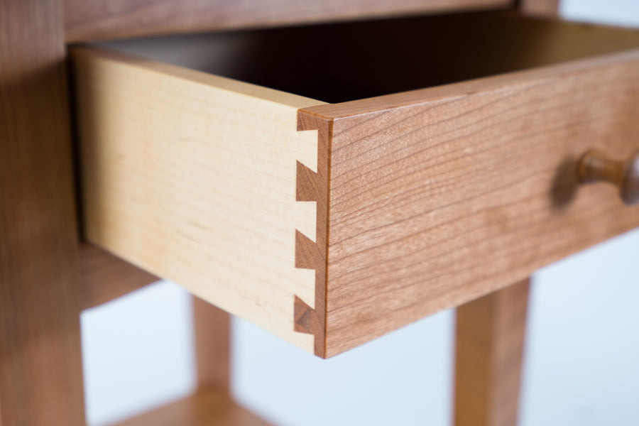 peaks point side table drawer detail - locally made furniture - handcrafted out of quality wood