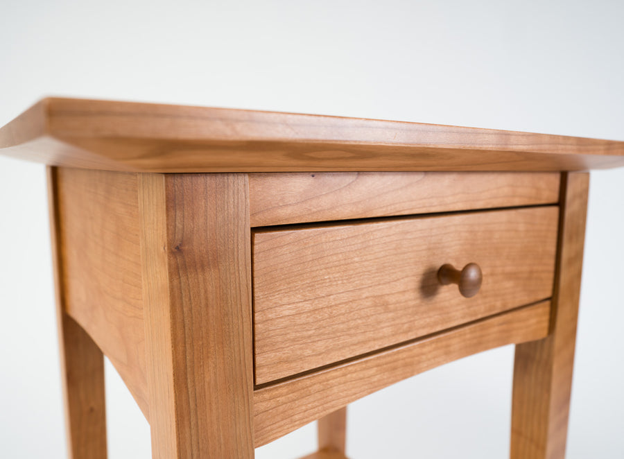 high quality side table - closed-drawer detail - shaker style - cherry wood - natural wood