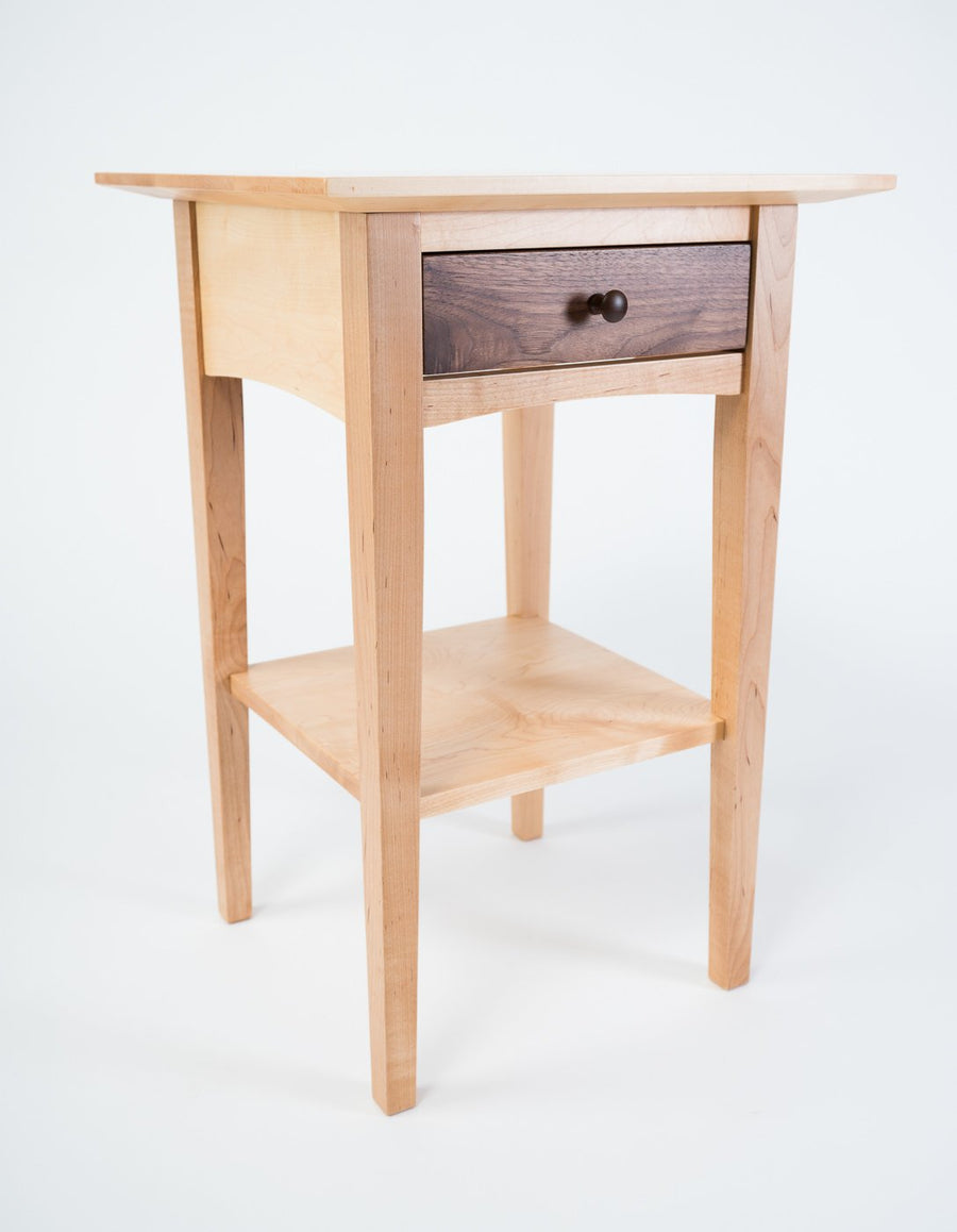 peaks point side table in maple and walnut - natural wood - locally made furniture - shaker style - beckett street - portland - maine - wood.stone.bone.