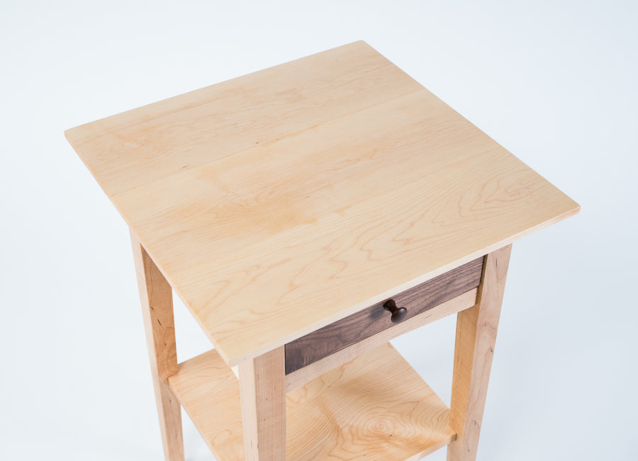 peaks point side table top-view - finished natural wood - walnut drawer - light wood - handmade - shaker furniture