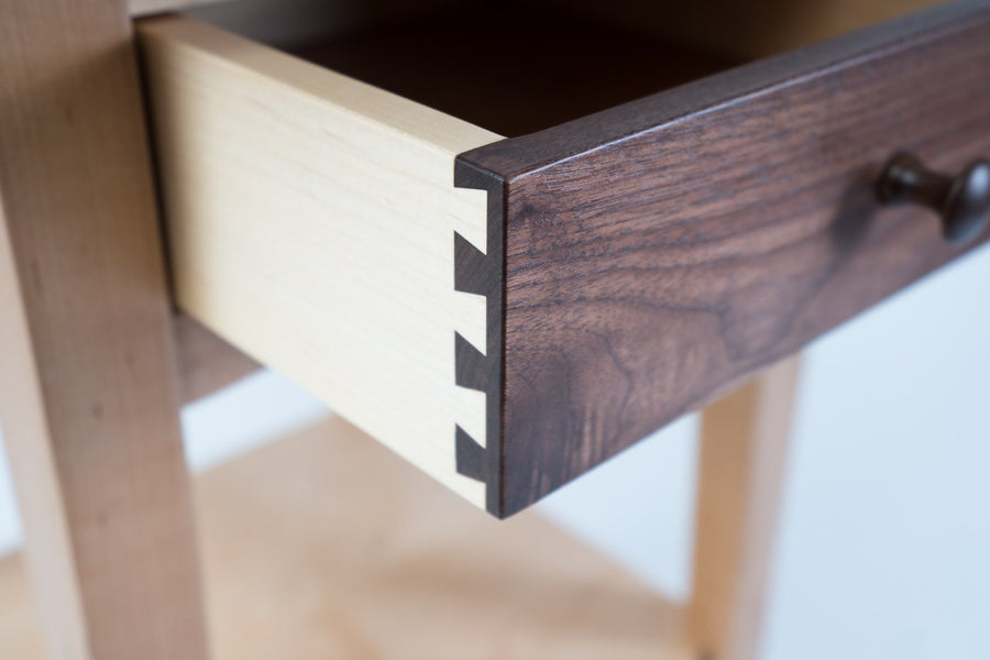 drawer detail image - maple frame and walnut drawer face - multi colored woods - wood.stone.bone. - locally made