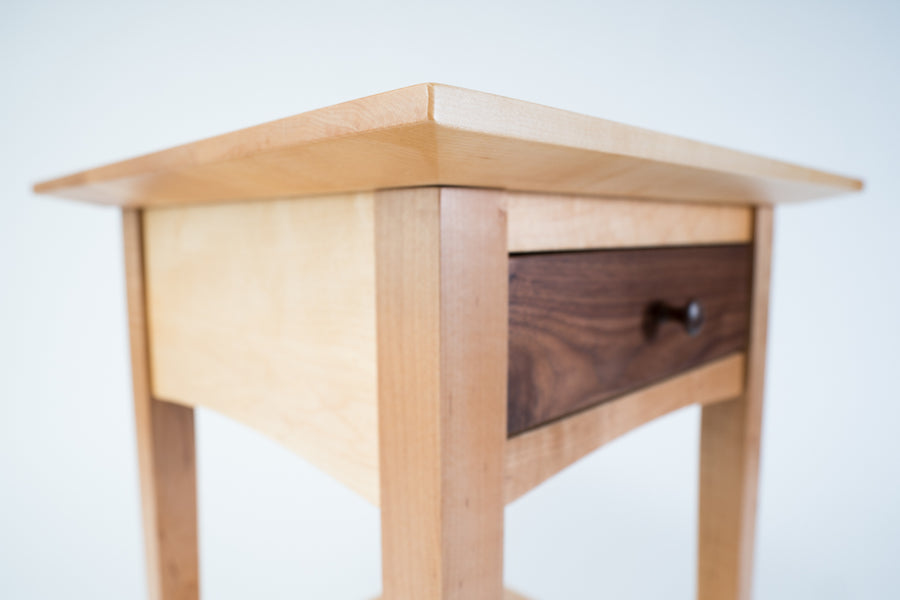 natural wood furniture - maple - walnut - end table - beckett street lifestyle collection - shaker style - wood.stone.bone.