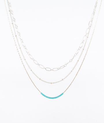 sterling silver multi-strand necklace - layered - turquoise beads - handmade in Maine by Near and Native