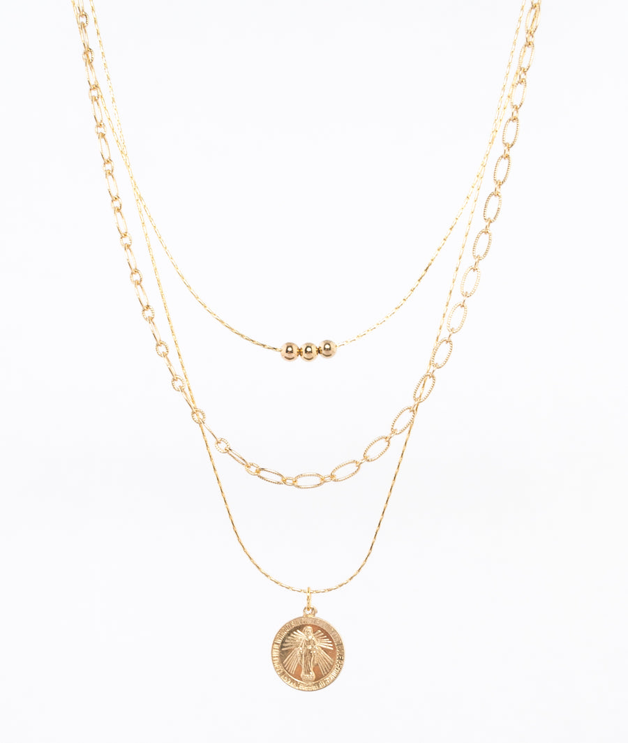 gold filled trio necklace by near and native - virgin mary charm - 14k gold filled beads - locally made