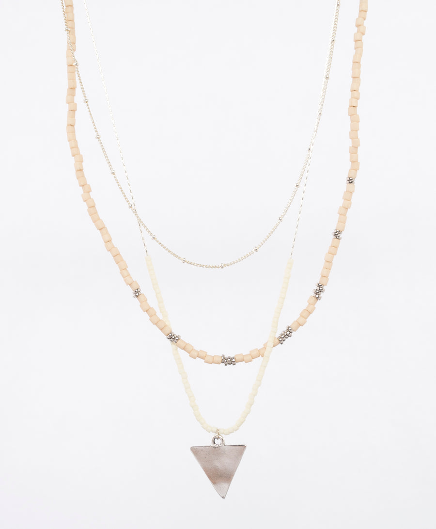 triangle and miyuki bead necklace - japanese jewelry - locally made in portland Maine