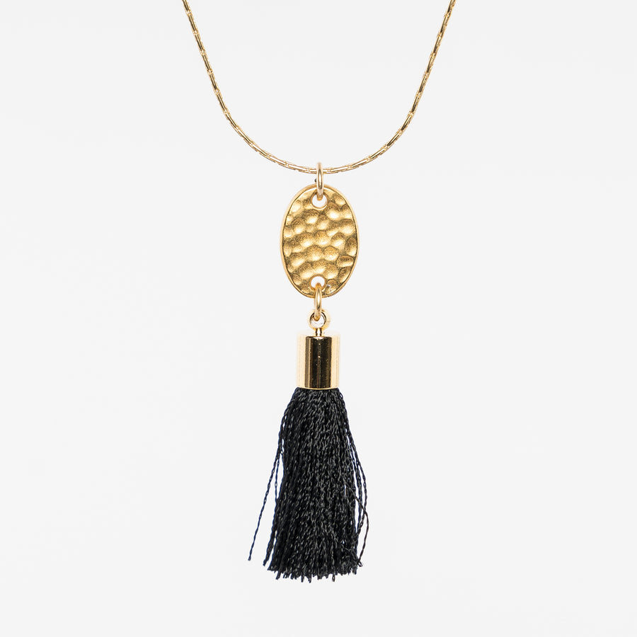 up close of the multi-strand tassel necklace by near and native