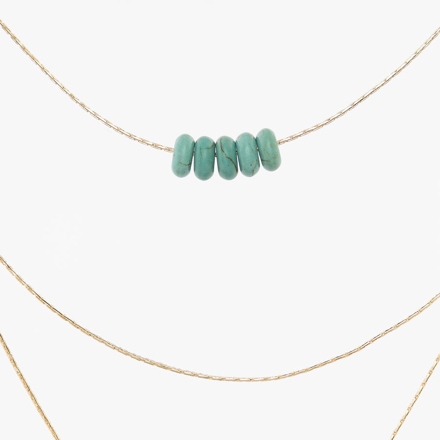 turquoise acrylic beads - thin gold chain - women's necklaces